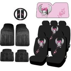 Amazon New Wild Skull Design Seat Covers Set 4pc Black Rubber Mats Sun Shade Combo Universal Automotive