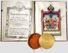 Austrian Grant of Nobility and of Arms to Franz Nemetschek Edler von Treuenschild, 4 September Holy Roman Empire, Lorraine, Austria, Coins, Arms, September, Letters, House, Libros