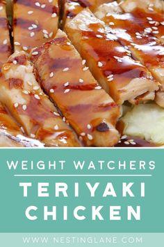Weight Watchers Grilled Teriyaki Chicken Herb Chicken Recipes, Pineapple Chicken Recipes, Chicken Teriyaki Recipe, Teriyaki Sauce, Garlic Recipes, Chicken Meals, Recipe Chicken, Weight Watchers Shrimp, Weight Watcher Taco Soup