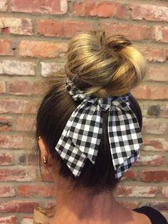 few of my favorite things Scrunchie Bow hair tie scrunchies fabric scrunchie with Diy Hair Scrunchies, Diy Hair Bows, Diy Bow, How To Make Scrunchies, Fabric Hair Bows, Disney Hair, Elastic Hair Ties, Diy Hair Accessories, Scarf Hairstyles