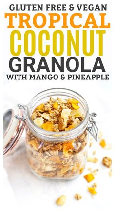 Tropical Coconut Granola with Mango and Pineapple (Gluten Free & Vegan) - This homemade granola recipe is one of THE BEST! Gourmet Recipes, Baking Recipes, Healthy Recipes, Freezer Recipes, Freezer Cooking, Healthy Treats, Drink Recipes, Healthy Foods, Cooking Tips