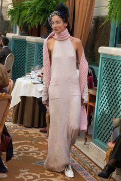 CHANEL at Ritz: pre-fall 2017     #fashion #fashionhistory #fashiontrends #fw2017 #fashionhistorian #moda #vogue #storiadellamoda #storicodellamoda pink robe Luciano Lapadula | Siamo Ciò Che Vestiamo | We Are What We Wear