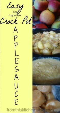 This applesauce is incredibly easy to make! I make up 60 pounds of apples at a time and have it in the freezer for easy snacks. No special tools need - just your crock pot.   Easy One Ingredient Crock Pot Applesauce