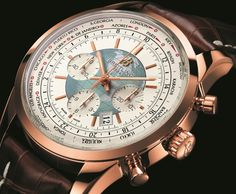 Breitling Transocean Chronograph Unitime - I really like the combination of the blue and gold they used here.