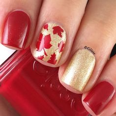 Gorgeous fall manicure by glittr(IG)  using our Autumn Leaf Nail Stencils found at snailvinyls.com