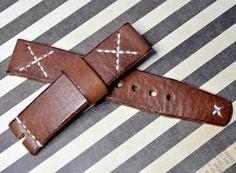 Heavy leather brown watch strap handmade by VladislavKostetskyi