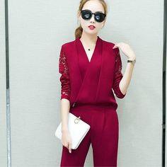 3faaa45ef039f0 [EBay] Fashion New 2018 Women 2 Piece Set Women Suit Female Long Sleeve Lace