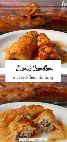 So machst du Zucchini Cannelloni!  #zucchini #ZucchiniCannelloni! Zucchini, Low Carb Recipes, Good Food, Food And Drink, Meat, Cooking, Breakfast, Low Carb Food, Keto Foods