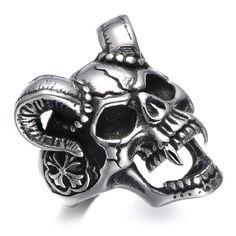Evil Goat Vampire Skull Ring