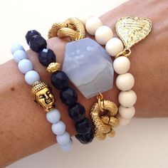 Blue Gypsy Stacked Bracelet Set- Boho Arm Candy Stack