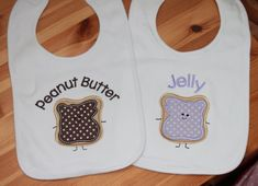 Twin Set of Applique Baby Bibs - Peanut Butter and Jelly Kids on Etsy, $24.00
