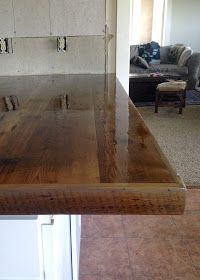 Wood Countertops DIY Reclaimed Wood Countertop - coating with Spar Urethane Wood Countertops, Kitchen Projects, Kitchen Remodel, New Kitchen, Major Kitchen Appliances, Wood Shelves, Reclaimed Wood Countertop, Reclaimed Wood, Diy Countertops