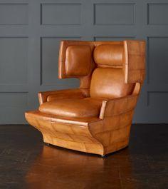 Wingback Lounge Chair, Tan