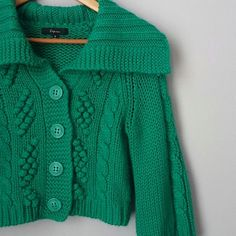 Cable knit crop sweater jacket Fun and unique piece! Excellent condition! cozy and cute for will winter. Tealish green in color. Express Jackets & Coats