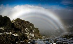 """""""Fogbow"""": Like a rainbow-- but it's actually fog. If skittles are at the end of the rainbow, what's at the end of the fogbow? My guess is a milky way."""