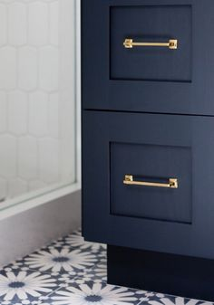 Cabinet and pulls. Hague Blue