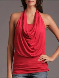 Arden B Cowl Neck Halter with Tube Top