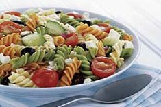 Feta and Vegetable Rotini Salad 3 cups tri-colored rotini pasta, cooked, cooled 1 cup Crumbled Feta Cheese 1 cup Halved cherry tomatoes 1 cup Chopped cucumbers 1/2 cup Sliced black olives 1/2 cup KRAFT Zesty Italian Dressing 1/4 cup Finely chopped red onions Make It: Combine ingredients & refrigerate 1 hour.