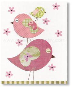 Baby Girl nursery decor Bird Nursery art Kids Wall Art Baby nursery wall art kids art pink nursery - Tendresse
