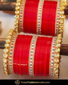 Indian bridal chura red bangle set Ideas for 2019 Silk Bangles, Bridal Bangles, Bridal Jewelry, Indian Bangles, Bridal Shoes, Indian Jewelry, Punjabi Bride, Punjabi Wedding, Punjabi Chura
