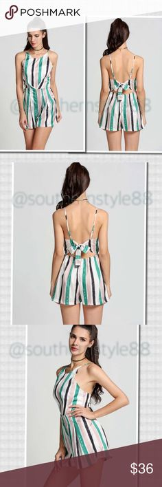 Striped Bow Back Romper XLarge BNWT Polyester, High waist, Above the knee, Backless, Adjustable spaghetti straps, pleated. ⛔️PP/Trades ✅Offers are Considered. Thanks for Looking! Boutique Tops