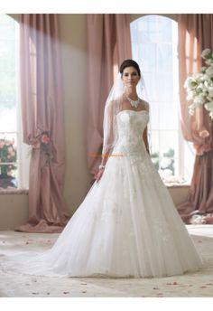Robe de mariée 2014 tulle princesse perles sans bretelles