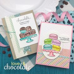 Chocolate and Macaron Cards by Jennifer Jackson   Love & Chocolate stamp set by Newton's Nook Designs #newtonsnook
