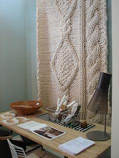 chunky knit wall-hanging / knitting as decor