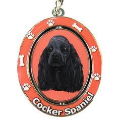 Cocker Spaniel Black Dog Spinning Keychain