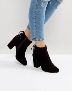 Head Over Heels by Dune Olli Lace Back Heeled Ankle Boots - Black