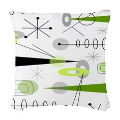 Atomic Era Inspired Woven Throw Pillow on CafePress.com