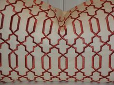 Please choose a size at check out. ( Pictures shown in 12 x 21 stuffed with 12 x 22 down insert )  The listing is for ONE decorative pillow cover. It is made from heavy weight cotton home decor fabric with classic trellis pattern. The trellis design is embroidered on to the background fabric. Colors include clay and ivory. The back of the cover is cotton twill fabric in a creamy ivory. Finished with an invisible zipper at the bottom.  Dry clean recommended. NOTE> Insert is not included.  ...