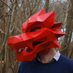 These plans enable you turn simple recycled card into a 3D Low Polygon Dragon Mask. Just print the templates on paper, stick them to card, cut them out, match t