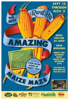 September 13th until November 3rd! Get lost in our giant seven acre corn maze featuring over two miles of interconnecting paths.