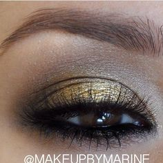"#Gorgeous #gold #shimmers by @MakeupbyMarine LASHES:: #FlutterLashes in ""LINDSAY"" ✨Visit us at www.FlutterLashes.com✨"
