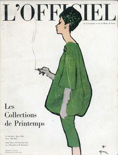L'Officiel n°455-456 de mars 1960 robe blouse Christian Dior, illustration Gruau