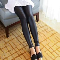 """🍁🎀PM Editor Shared🎀 Faux leather black leggings Adorable and trendy """"wet-look"""" leggings. Patchwork stitching makes these super cute. (Close to true sizing - I am a 6/8, and the medium fit me well. Snug, legging fit, falls right above the ankle). Pants Leggings"""