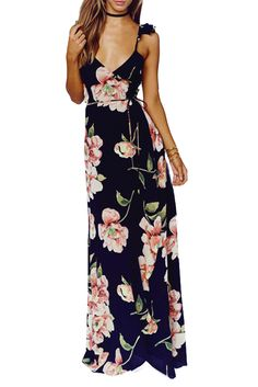 Just In Floral Print Backless Split Maxi Dress Shop Now! http://www.shopelettra.com/products/floral-print-backless-split-tie-maxi-dress