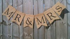 MR & MRS Burlap wedding Banner Country Chic Western Outdoor Wedding via Etsy