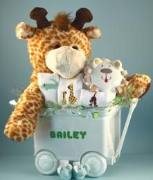 "Jungle Buggy Personalized Baby Gift Set -- talk about Baby Cuddlers!  This really cute baby wagon comes with a giant cuddly plush pal  -- 30"" of giraffe, elephant, lion, or gorilla to keep baby safe, warm, and snuggled all day or all night!  Send one today from Jolly Jackrabbit to your little cuddler!"