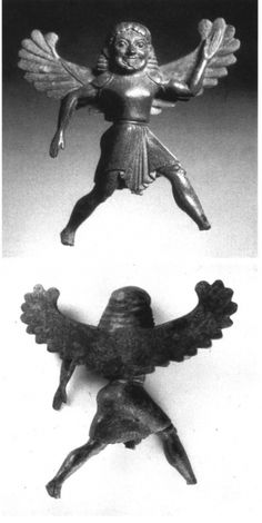 Bronze Siren (front and back). Associated with excavation of the mid-fifth century Temple of Hera Lakinia, Crotone, Magna Graecia (ancient Greek South Italy). Cf. the various images, elsewhere on this board, of the early-classical Siren askos from Crotone, and of Siren cauldron attachments from Olympia and from Delphi.