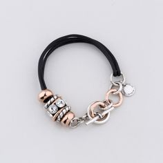 Miglio Jewellery Serendipity Bracelet - Jet black multi-strand leather bracelet with rose gold and burnished silver plated rings and beads created with Swarovski® crystals - 19 cm Designer Jewellery, Jewelry Design, Necklaces, Bracelets, Serendipity, Silver Plate, Swarovski Crystals, Jet, Cord