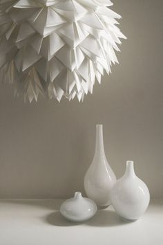 RESERVED for lkw15 - White Spiky Pendant Light - Overlapping Folds Origami Paper Hanging Lamp Shade Only with RUSH FEE via Etsy