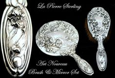 Antique Sterling Silver 2 Pc Vanity Dresser Set La Pierre Art Nouveau from charonsspoilsantiques on Ruby Lane