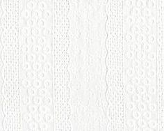 Feine, bestickte Baumwolle Bianca mit Lockstickerei und Blütenstreifen, weiß