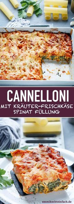 Cannelloni mit Kräuterfrischkäse-Spinat Füllung - emmikochteinfachCannelloni with herb cream cheese and spinach filling The simple, vegetarian recipe. Cannelloni are much easier to prepare than you think. Clean Eating Recipes, Raw Food Recipes, Veggie Recipes, Pasta Recipes, Mexican Food Recipes, Soup Recipes, Salad Recipes, Vegetarian Recipes, Ethnic Recipes