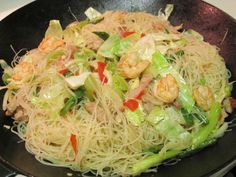 Filipino+Shrimp+Pancit+Recipe | Sauteed Rice Noodles (Pancit Bihon) | AmerAsian Home Cooking