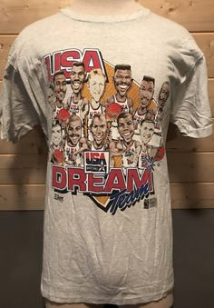 87d00796c58 Vintage 1992 USA Dream Team Tournament of Americas Bird Jordan Magic  Cartoon T-Shirt Made in USA