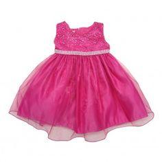 Little Girls Fuchsia Rhinestone Embellished Overlaid Flower Girl Dress 2T-6X