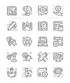 Industrial and manufacturing process icons set in line art